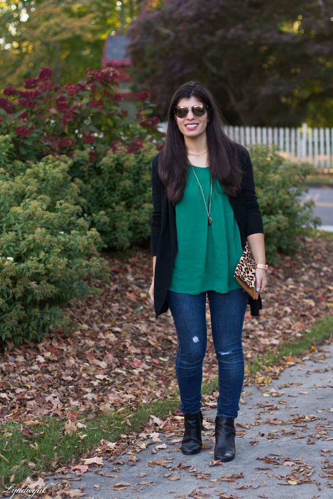 green silk blouse, black cardigan, leopard clutch.jpg