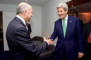 Secretary Kerry Greets French Foreign Minister Fabius