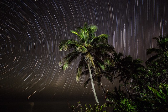 Cook Islands - Star trails over Rarotonga