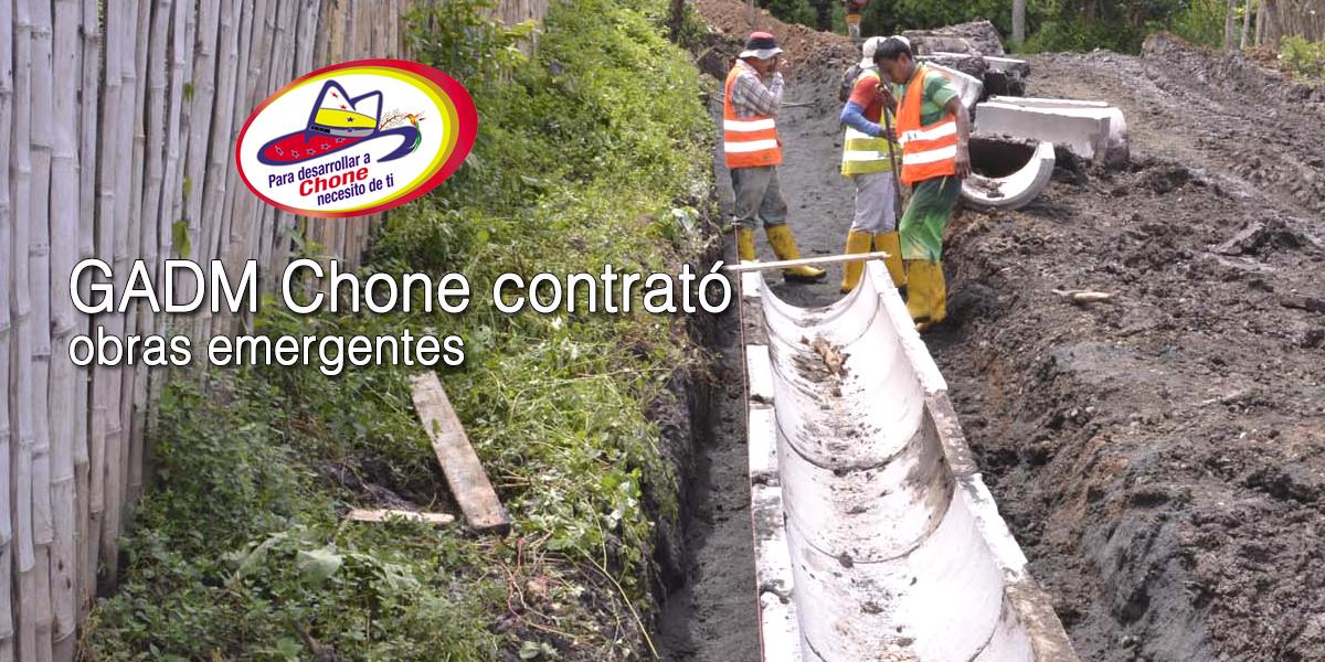 GADM Chone contrató obras emergentes
