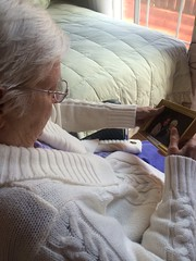 Dementia gazes past. I miss YOU, Mom