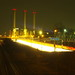 Over-long exposure of power station and motorway, seen from bridge over S Hohenzollerndamm