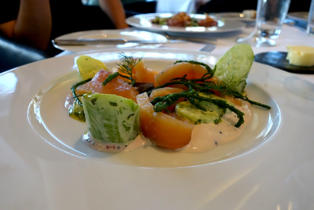 Cured wild sea trout, baby cucumbers, purple potato blinis, samphire and eggs, OXO Tower Restaurant, London