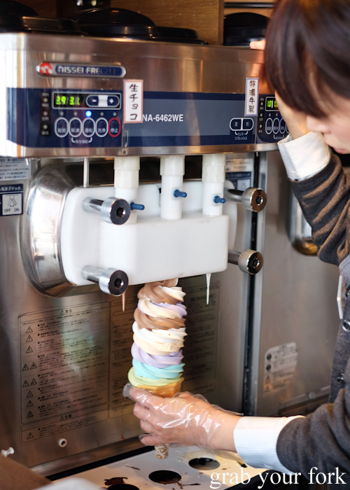 Eight swirl soft serve at Kitaichi Glass No. 3 Terrace in Otaru, Hokkaido