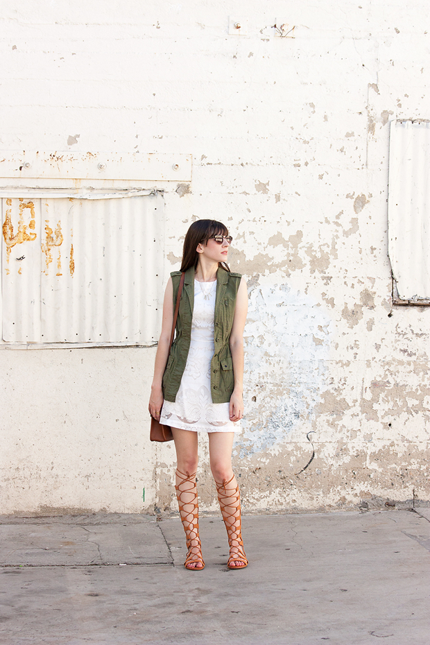 Gladiator Shoes, Utility Vest, Outfit for Summer