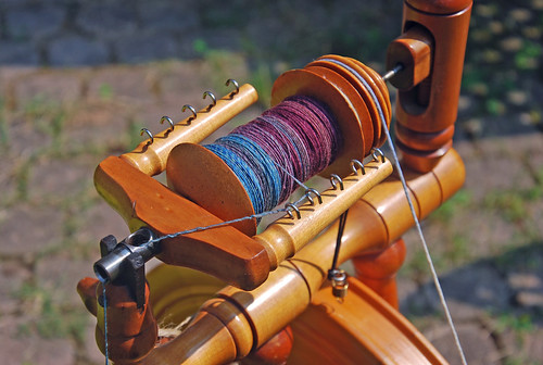 Spinning handdyed Targhee on Rappard Wee Peggy spinning wheel by irieknit