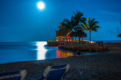 Moon Over the Water in Puerto Aventuras Mexico