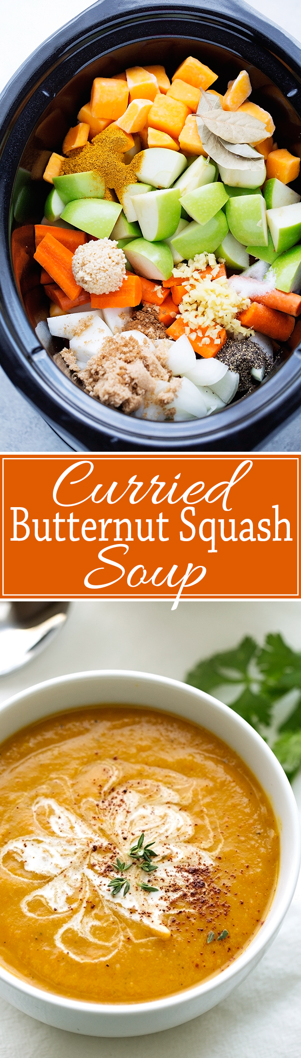 Curried Butternut Squash Soup {Slow Cooker} - Smooth, creamy, and super comforting curried Butternut Squash Soup made in the slow cooker. #vegetarian #slowcooker #crockpot #butternutsquashsoup   Littlespicejar.com