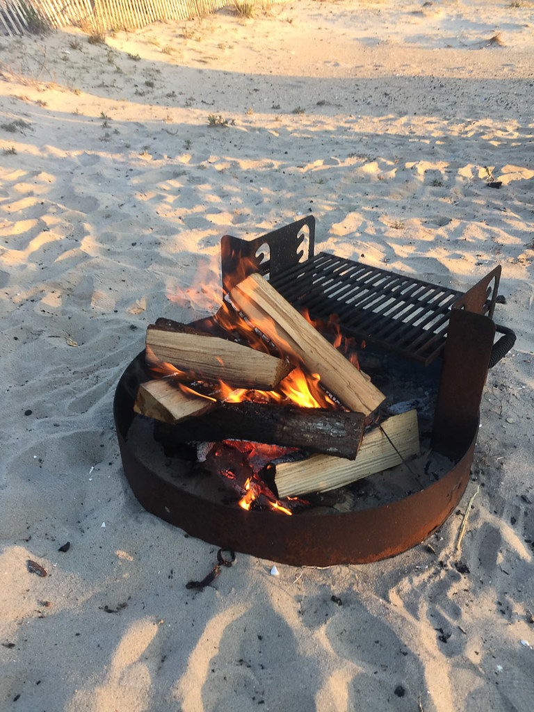 Starting the campfire at Assateague campsite