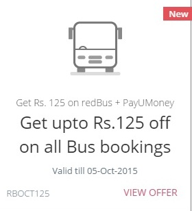 redbus payumoney offer
