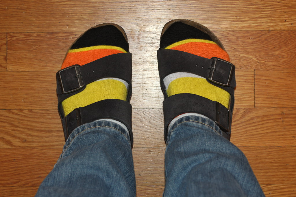 Birkenstocks with Candy Corn Socks