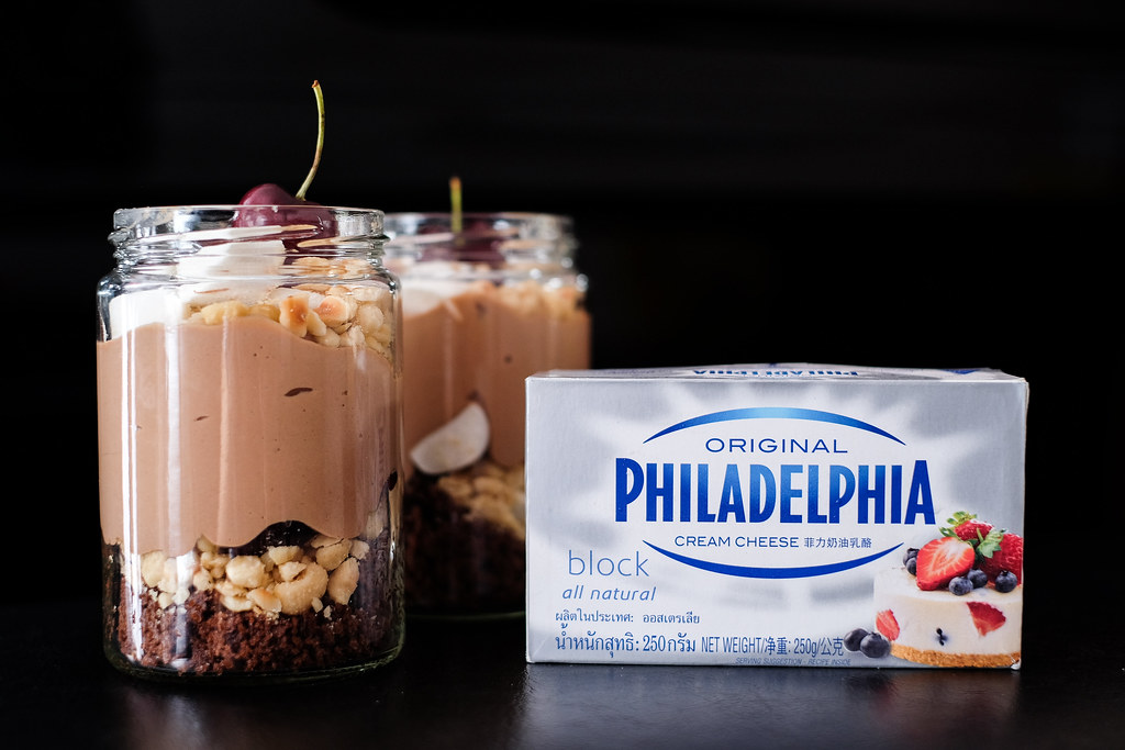 Using Philadelphia Cream Cheese for Using Philadelphia Cream Cheese to prepare Hazenut Roocky Road Cheesecake Jars