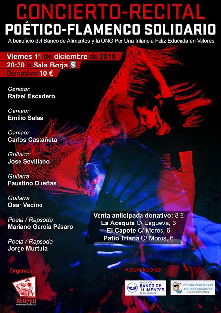 Concierto Recital Flamenco Solidario. 11 de diciembre Sala Borja