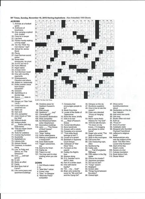 NYT Sunday Puzzle - November 15, 2015
