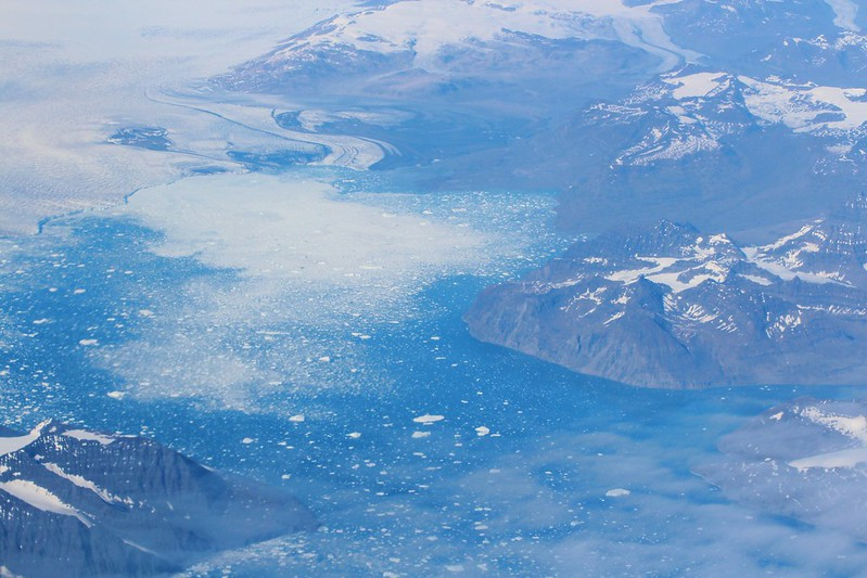 Greenland from a plane window