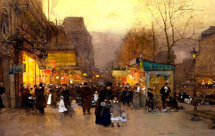 Porte St Martin At Christmas Time In Paris by Luigi Loir - circa 1890