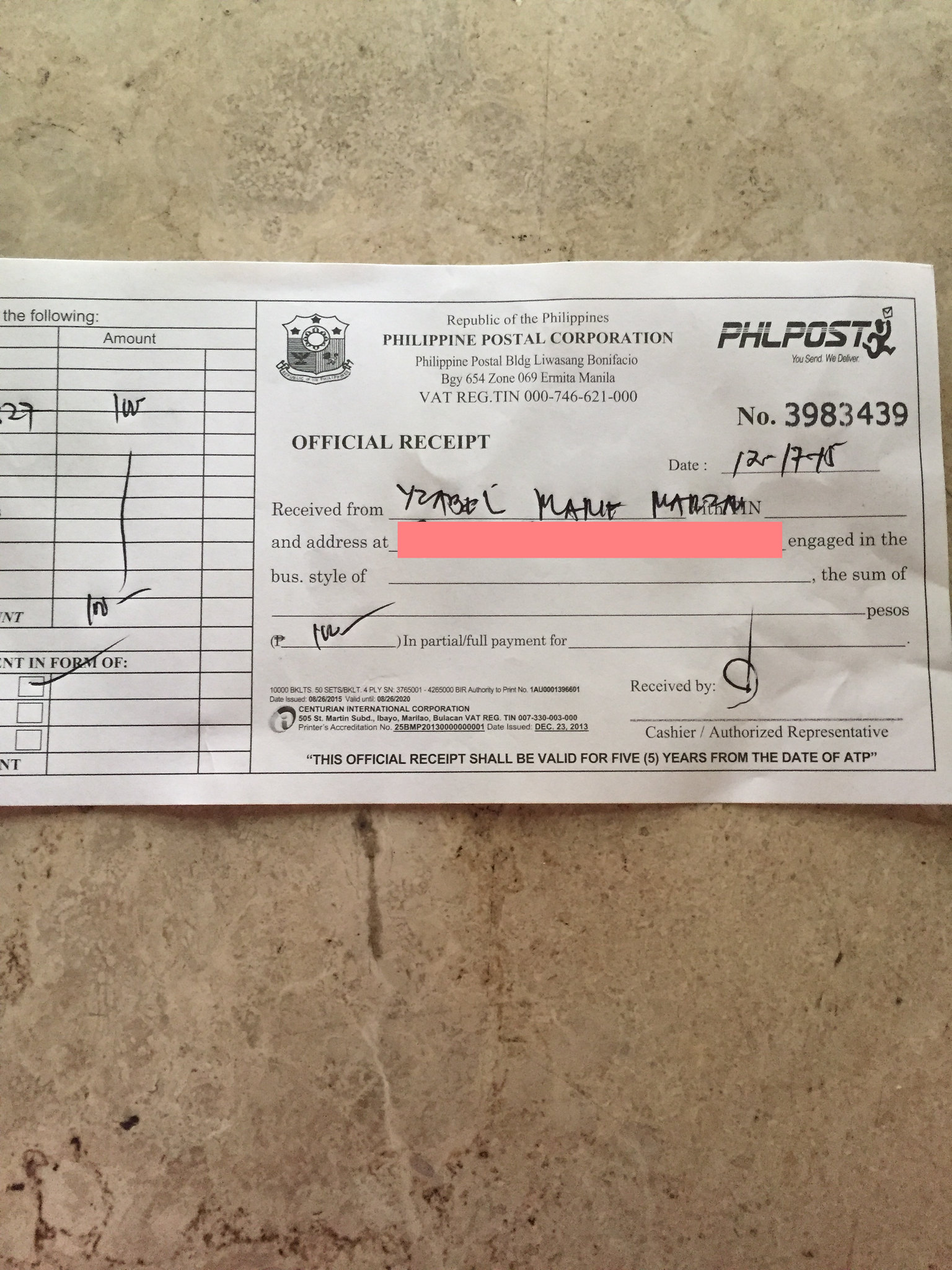 PhilPost official receipt