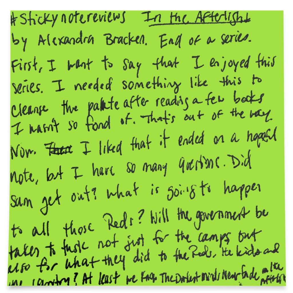 Sticky note review for In the Afterlight by Alexandra Bracken