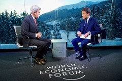 Sky Arabia host Muhammed Le interviews U.S. Secretary of State John Kerry on January 17, 2017, at the World Economic Forum in Davos, Switzerland. [State Department photo/ Public Domain]