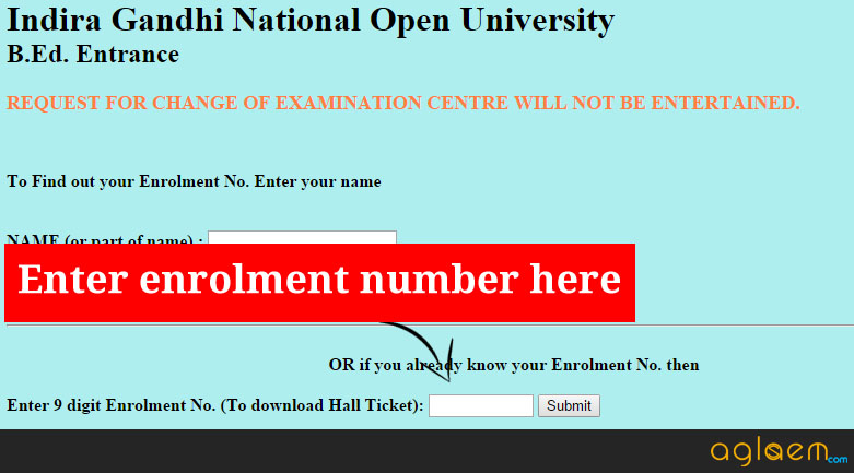 IGNOU B.Ed Hall Ticket - IGNOU B.Ed Admit Card