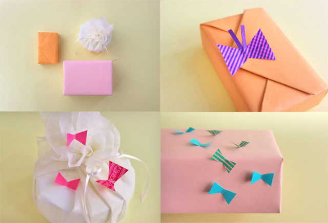 cute washi tape bow gift wrap