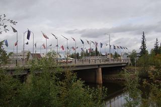 013 Brug met vlaggen Amerikaanse staten
