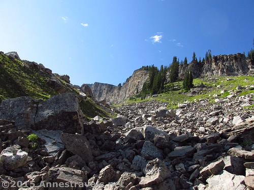 Up over the scree in Upper Darby Canyon, Jedidiah Smith Wilderness Area, Wyoming
