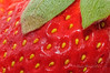 Closeup of strawberry surface