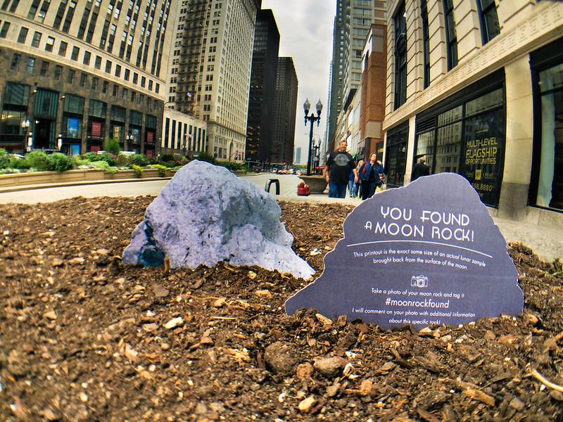 Moon rock 76055 found in sidewalk planter on Michigan Avenue in Chicago