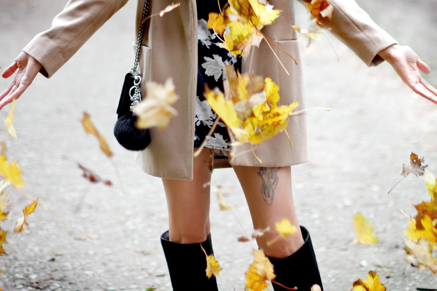 autumn twirl fun girl vintage leaves yellow fall fun darling girl boots mini dress happy monday cats & dogs wie hund und katze modeblog fashionblogger ricarda schernus styleblog ootd berlin hannover düsseldorf 1