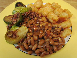 Boozy Baked Beans; Caramelized Brussels Sprouts with Pecans