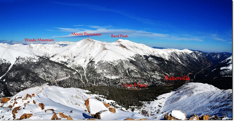 Looking northeast onto Woods, Parnassus & Bard Peak from the summit of Mount Sniktau 1-1