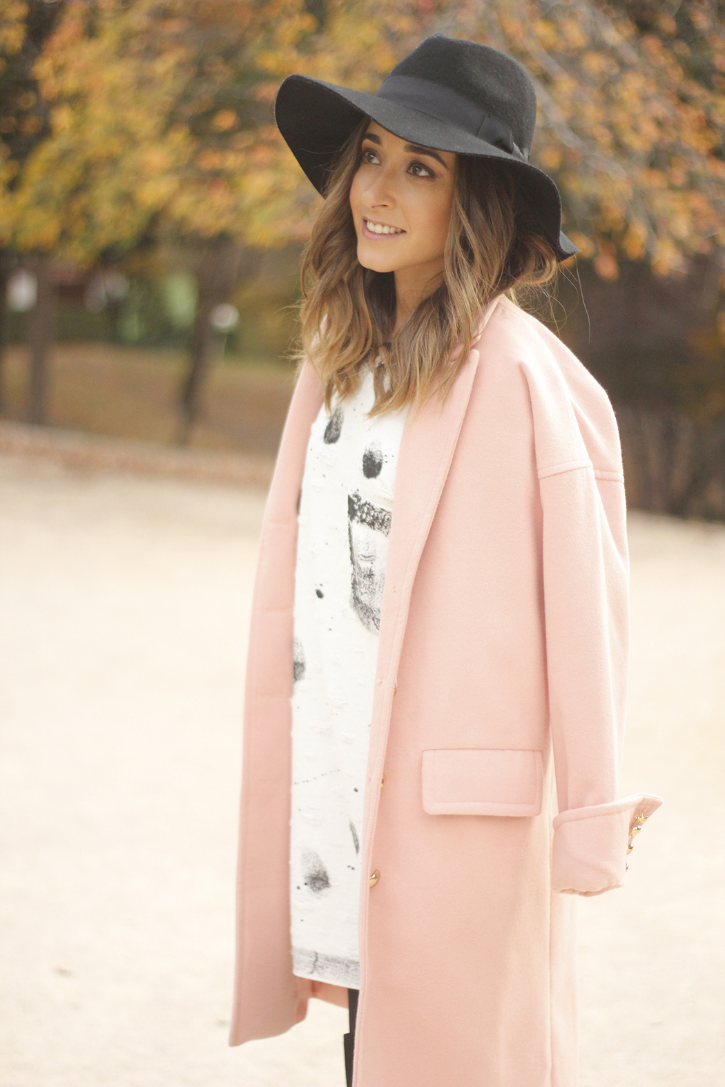 Black and White Dress Pink Coat Black Hat outfit style over the knees boots15