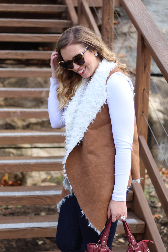 Comfy Casual Outfit | Shearling Vest | Brown Booties
