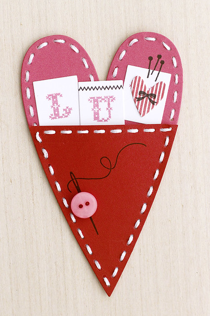 Pocket Stitched Primitive Heart Valentine by Papertrey Ink