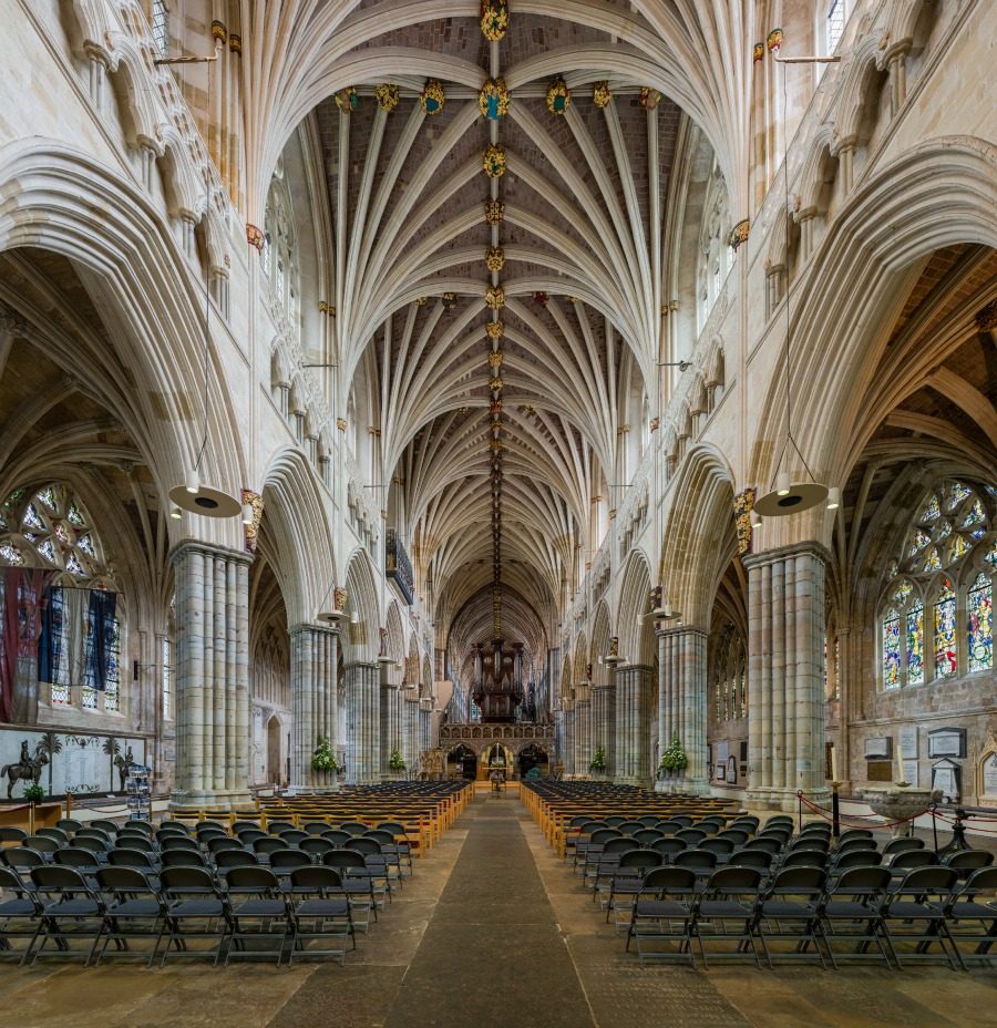 Exeter Cathedral - looking east toward the organ. Credit: David Iliff