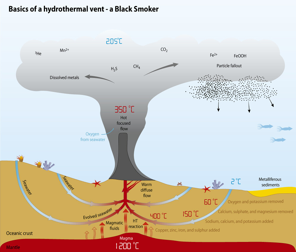 Basics of a hydrothermal vent - a Black Smoker | GRID-Arendal
