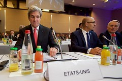 U.S. Secretary of State John Kerry sits in his seat on January 15, 2017, at the Ministry of Foreign Affairs Conference Center in Paris, France, before the plenary session of a French-hosted conference on Middle East peace. [State Department photo/ Public Domain]