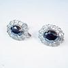 intage Faceted Hematite Silvertone Filigree Earrings - Screwback 1960s