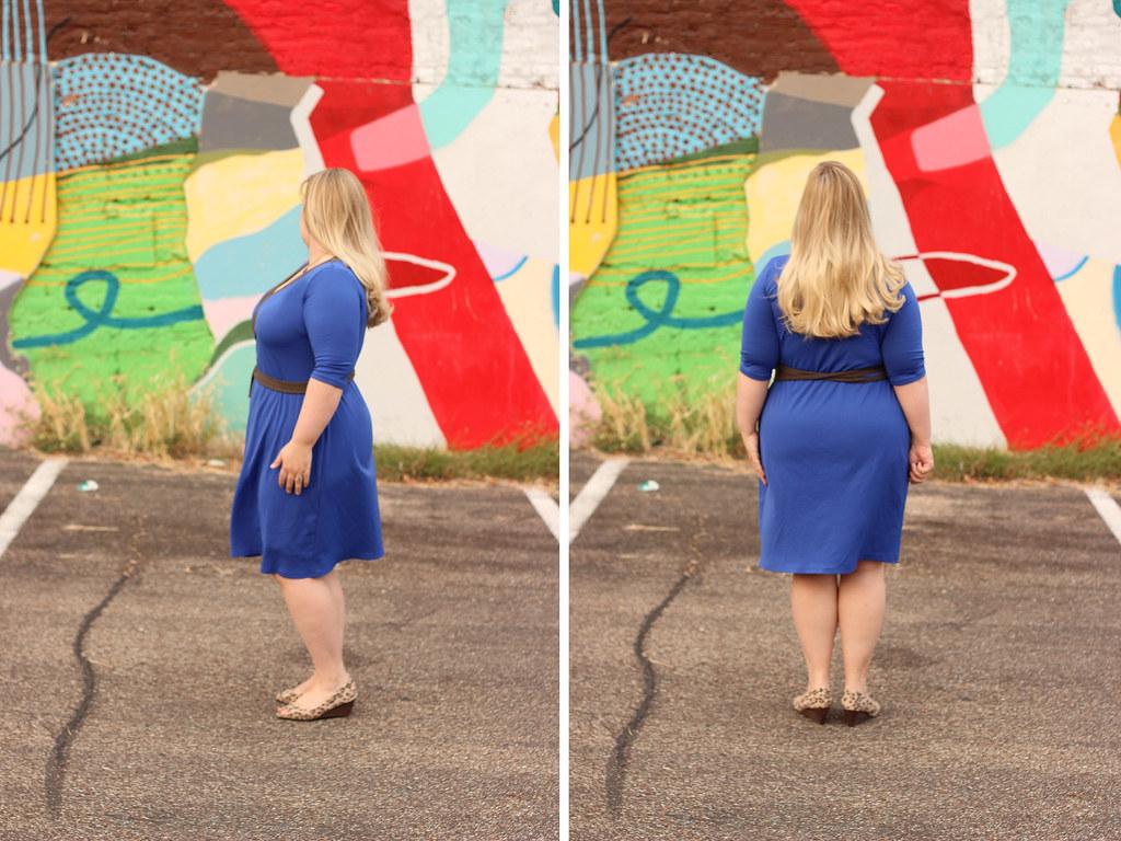 Idle Fancy - Appleton Dress - Cashmerette Patterns - Blue Jersey- side back