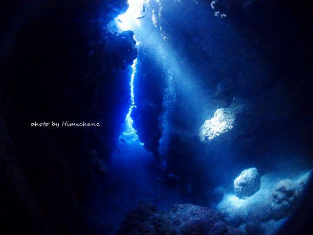 洞窟の光がすんごいキレイでした♪