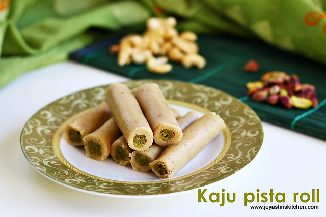 Kaju Pista Roll recipe| Diwali sweets | Jeyashri\'s Kitchen