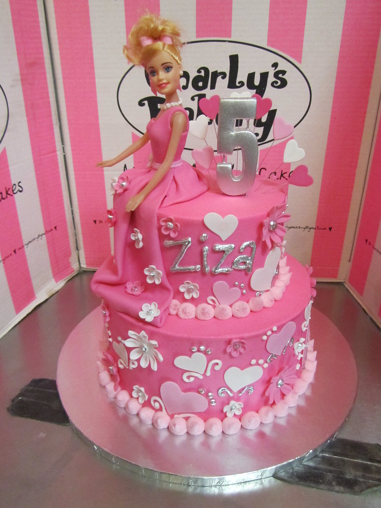 2 Tier Barbie Themed 5th Birthday Cake In Shades Of Pink A Photo