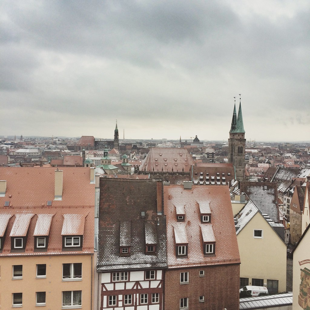 Nuremberg snow view from above