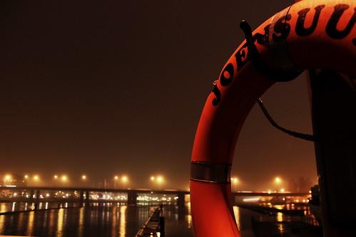 city bridge winter sepia finland river lights view lifebelt joensuu pielisjoki northkarelia suvantosilta