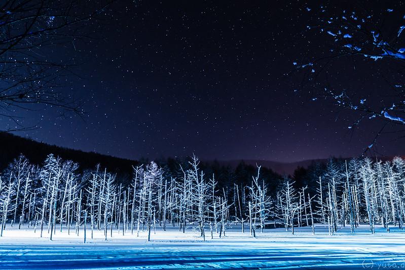 冬の青い池 blue pond