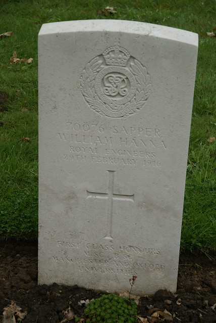 W. Hanna, Royal Engineers, 1916, War Grave, Poperinghe New