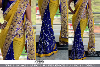 Yellow Blue Worked Georgette Saree With Blouse Sarees on Shimply.com