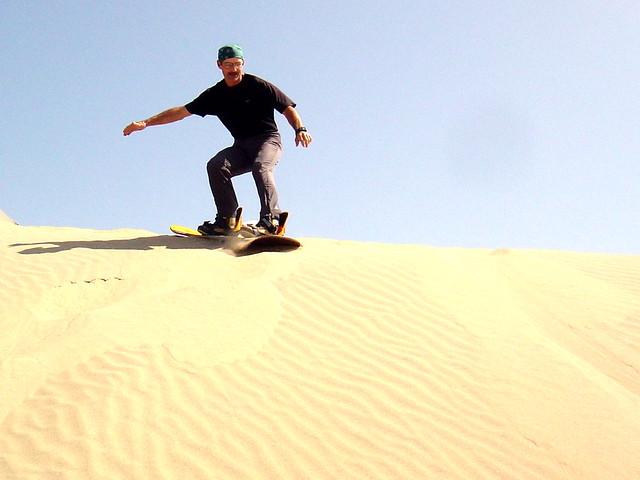 sand boarding, Huacachina, Peru