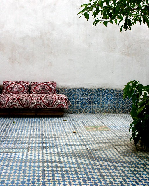 Fes - Medina - Sofa in Courtyard